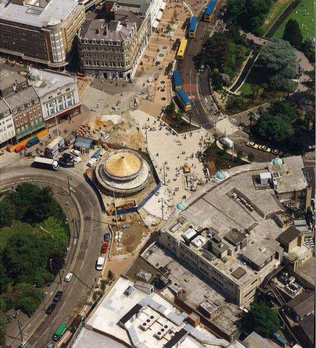 This aerial picture shows working been undertaken in Bournemouth Square in 199. Picture by Kitchenham Limited.