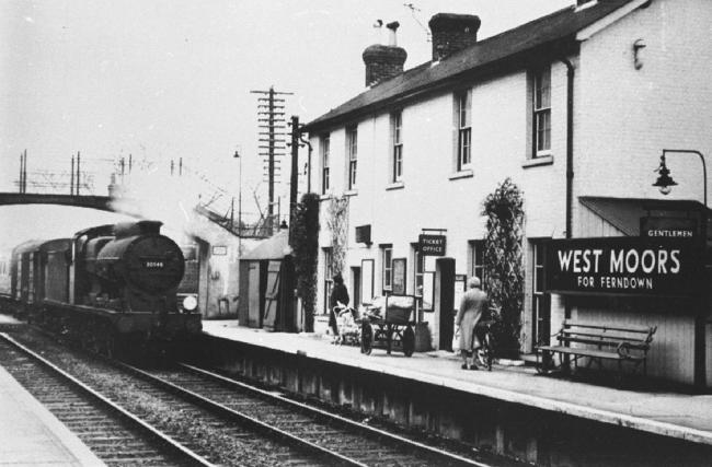 Remembering when West Moors had a Railway station.  The London & South Western Railway station opened in August 1867 the line went from Lymington Junction, Brockenhurst, through Holmsley, Ringwood, West Moors, Wimborne and Broadstone before continuing