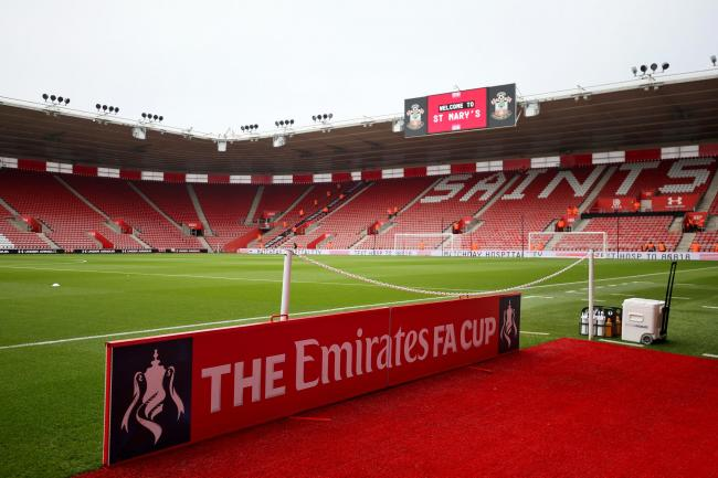 A view of the pitch before an FA Cup match at St Mary's Stadium, Southampton
