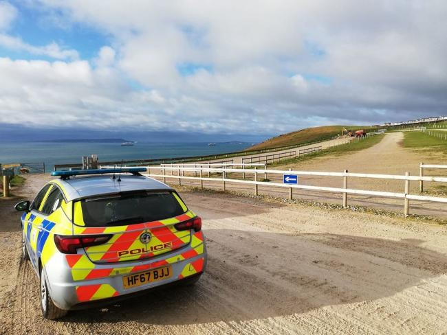 "Police patrolling beauty spots around Dorset have said that they were ""very happy"" to see the carpark at Durdle Door empty. Picture credit: Purbeck Police"