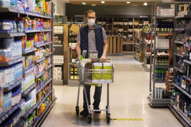 Shopping in the supermarket during the coronavirus pandemic