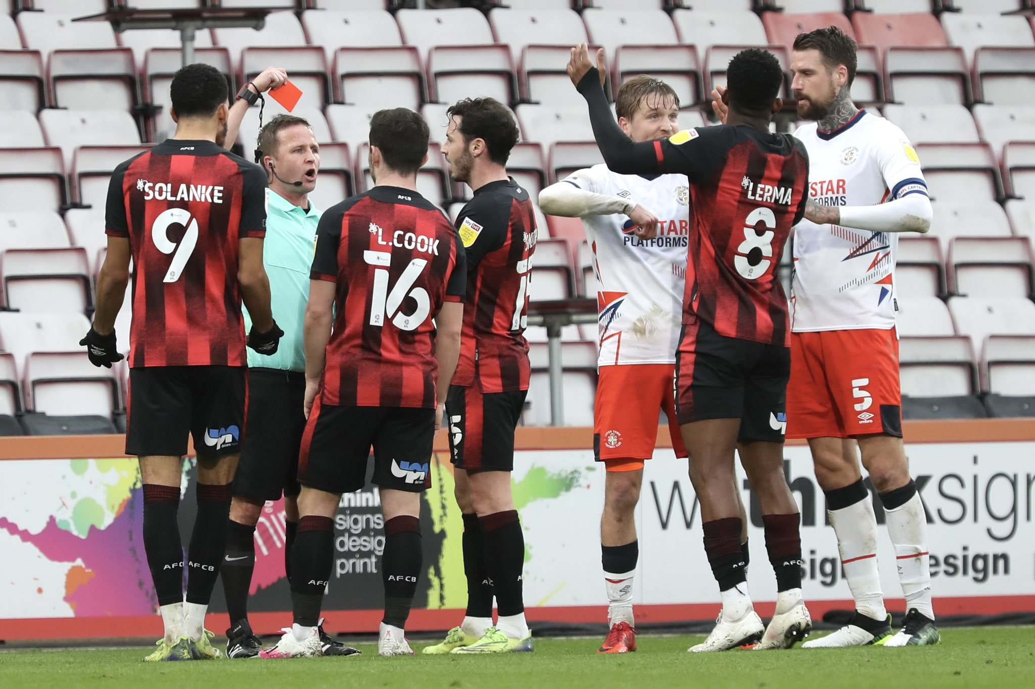 Jefferson Lerma sent off as Cherries fall at home to Luton