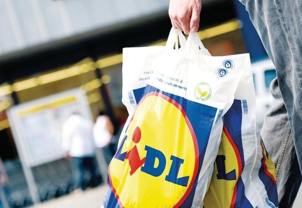 Stock image of Lidl carrier bags