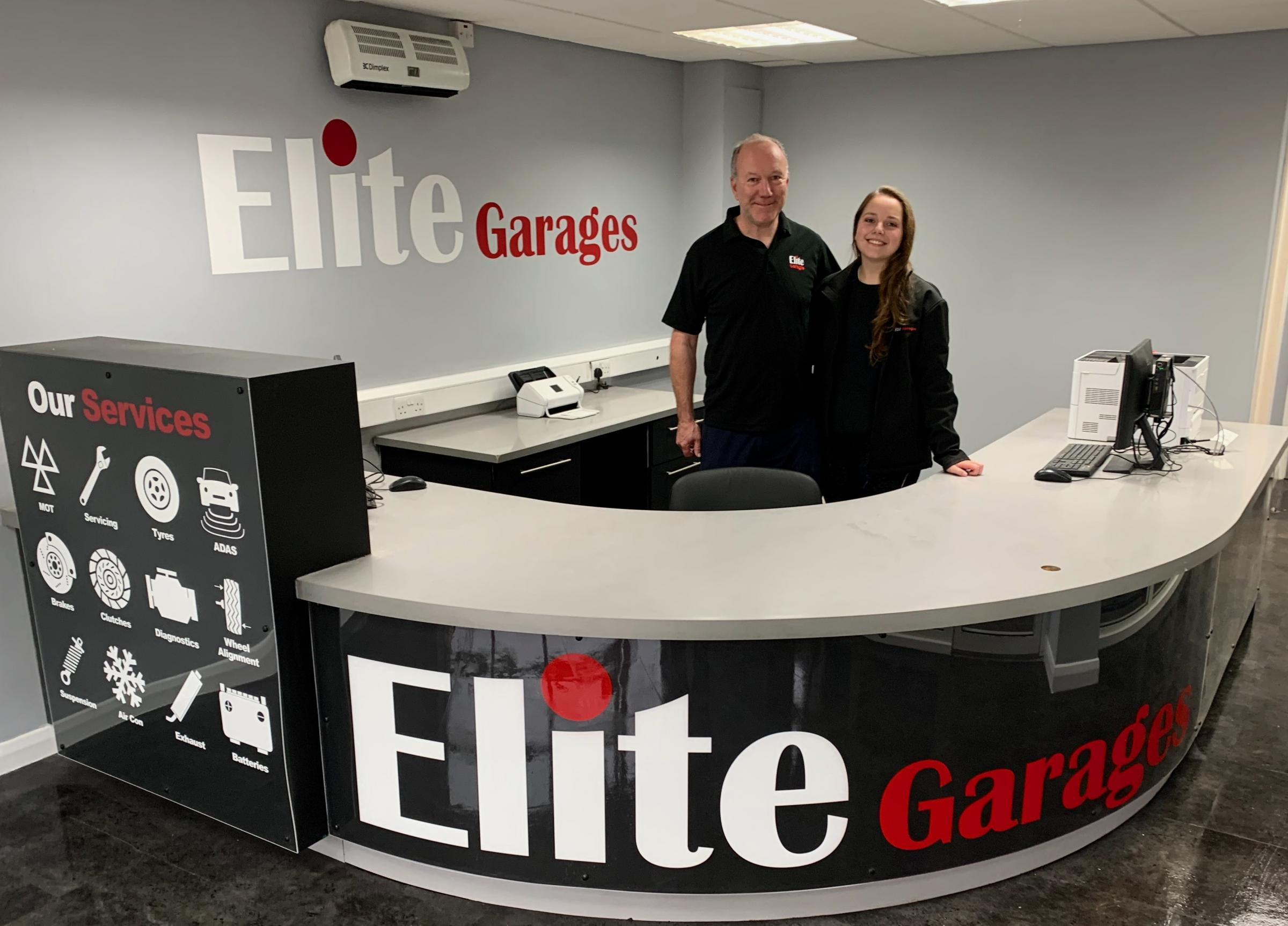 Richard and Kelsie Whittemore at Elite Garages, Maidstone