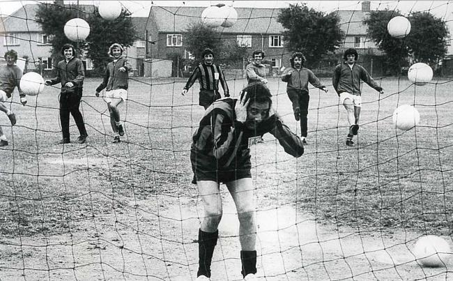The late Bernie Winters had a go between the sticks during a Cherries training session back in September 1971 and came under fire from players Fred Davies, Keith Miller, Tony Powell, John Benson, Tony Scott, John Sainty and brother Mike Winter who also jo