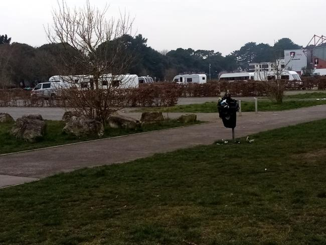 The unauthorised encampment at King's Park in Bournemouth