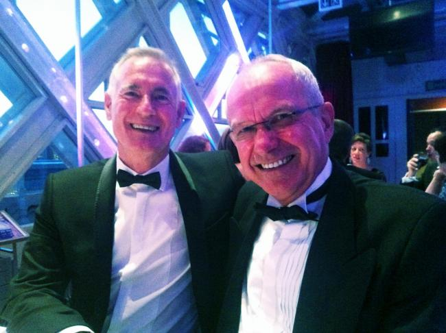 Paul Cornes, left, and Tom Flood at a charity dinner at Tower Bridge