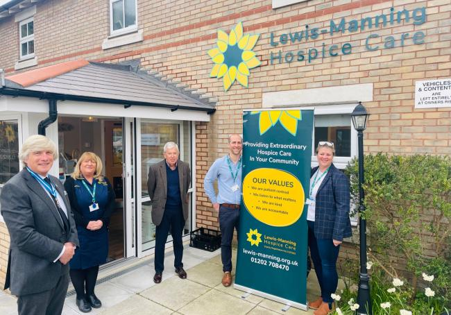 Dorset High Sheriff Michael Dooley, Day Hospice Clinical Team Manager at Lewis Manning Hospice Care Debbie Tallick-Wyatt, Trustee Timothey Lee, Director of Fundraising Tom Goodinge, and Director of Finance and Operations Alison Dean