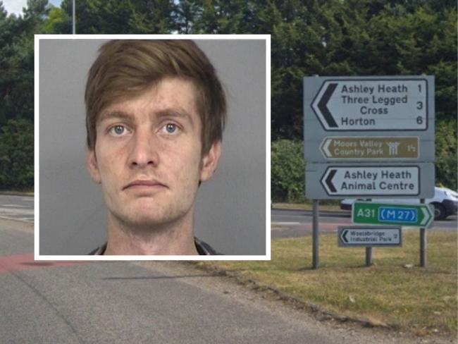 Adam Woolward, 28, sped at 80mph in a 40mph zone on Horton Road after narrowly avoiding a crash on the Ashley Heath roundabout