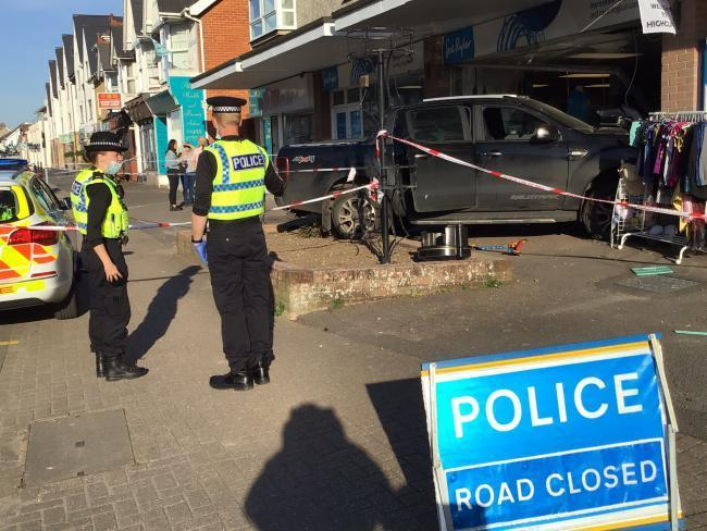 A vehicle crashed into the front of a shop in Highcliffe on Monday April 26 2021