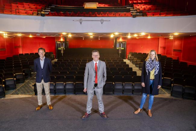 Cllr Philip Broadhead and AUB's Paul Gough and Katharine Piercey at the Palace Court Theatre