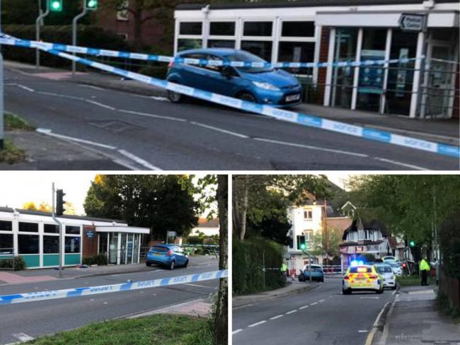 Police cordon in Station Road, West Moors, following a serious crash. Picture: Peter Lovesey