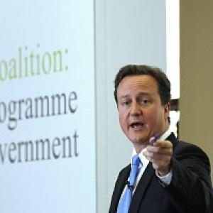 Bournemouth Echo: David Cameron during the launch of the Coalition Agreement document