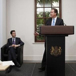 Bournemouth Echo: Nick Clegg and David Cameron launch the Coalition Agreement document