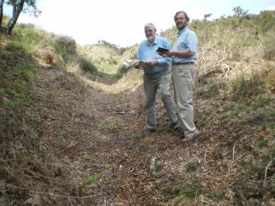 ON THE RIGHT TRACK: Alan Hawkins, left, and Keith Jarvis record one of the possibly medieval trackways