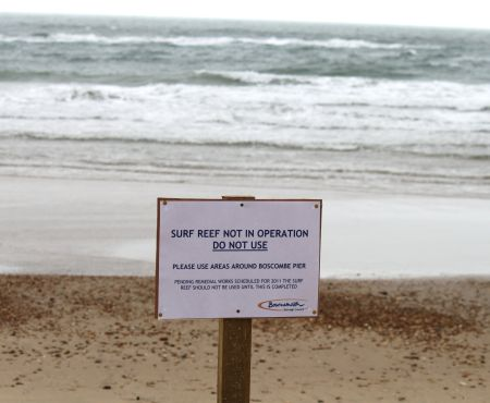 Surfers are advised to stay clear of the reef