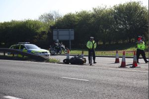 The scene of a fatal accident on the Wessex Way