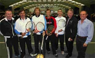 ON COURT: (left to right) Rowan Moss (Vicario and Casal's UK agent), Emilio Sanchez Vicario, Sergio Casal, Matt Coombes, Andy Phillips, Howard Butterworth and Nigel Butler (Dorset Tennis Initiative) pictured before the exhibition match at West Hants.