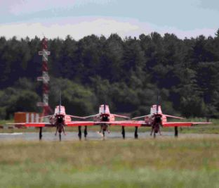 three of the Red Arrows' Hawk T1 jets