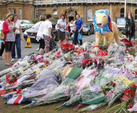 The mass of floral and other tributes to Red Arrows Pilot Fl Lt Jon Egging