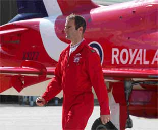 HERO: Flt Lt Jon Egging at Bournemouth airport. Picture: Mike Boss.