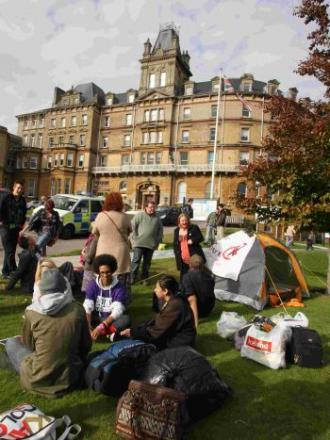 MOVES: The protest camp outside Bournemouth Town Hall