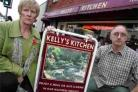 FINAL DECISION: Kelly's Kitchen owner Terry Kelly and his wife Rose in the high street.