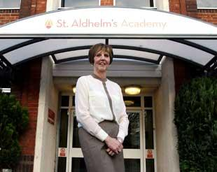 St Aldhelm's Academy principal Cheryl Heron outside the school.