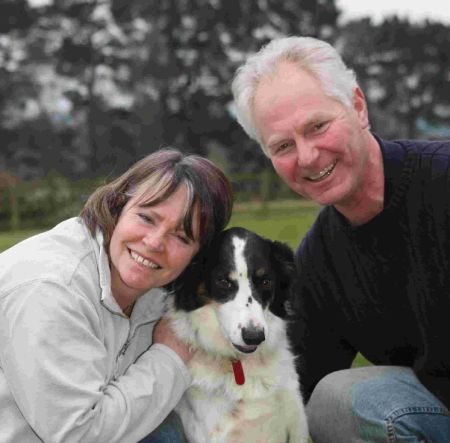 Leah and Ralph Watts and their dog Daisy who were rescued by Dorset Fire and Rescue officers after getting stuck in a bog in Wareham Forest