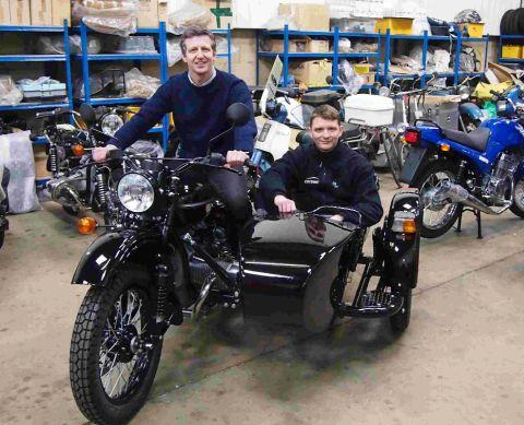 Nick Farnhill and Christopher Meachin, who are undertaking a challenge on Ural motorcycles to the Arctic circle