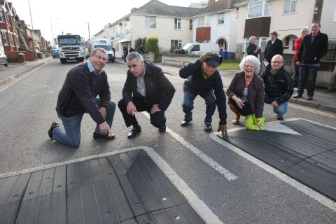 BUMPS DON'T WORK: Some of the Sterte Road residents petitioning Poole council for the removal of traffic-calming measures in their road