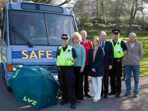 SECURE: PS Anna Harvey, Alison Shelton, Barry Barnes, Safe Bus coordinator Sian Jenkins, High Sheriff of Dorset Alan Frost, Inspector Dean O'Connor and Councillor David Smith