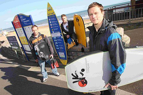 Bodyboarders Clive Stopper, James Blackwell and Paul Middlewick are still using the reef at Boscombe despite it being officially closed