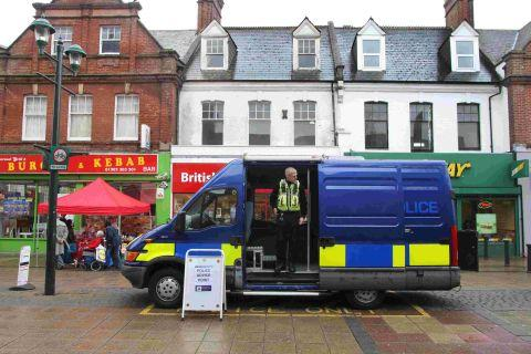 CONTACT: A Dorset Police van parked in Boscombe Precinct as an advice point