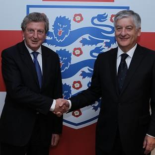 Newly appointed England manager Roy Hodgson and FA chairman David Bernstein (right)