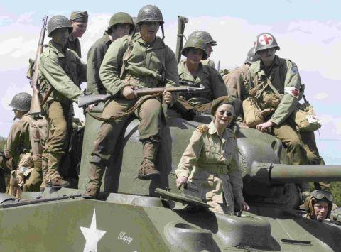 TANKS FOR THAT: Hitching a ride on a Sherman during a previous Maiden Newton at War event