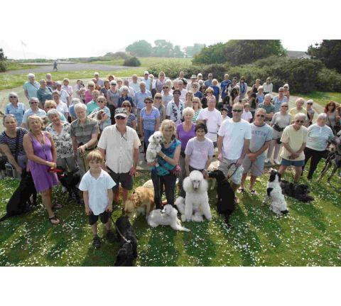 Dog owners at Steamer Point in Mudeford protest