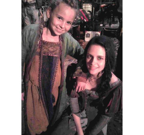 Hattie and Kristen Stewart during rehearsals on the set of Snow White and the Huntsman