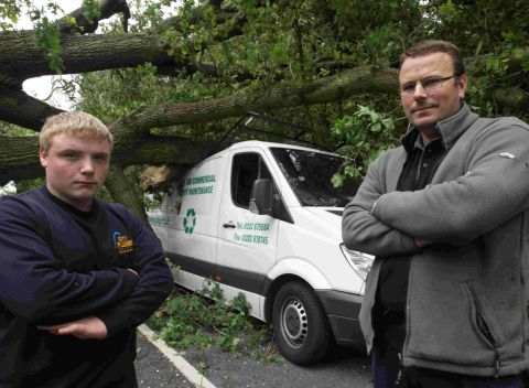 VIDEO: Pair lucky to live after tree falls on van