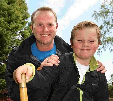 PEAK FITNESS: Jack Channon, 8, climbed Mount Snowdon with dad Mark in aid of Macmillan Cancer Support