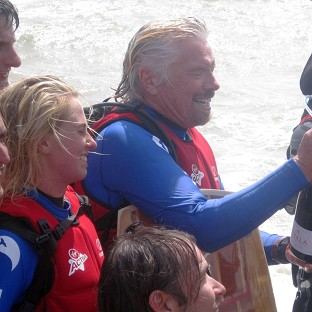 Sir Richard Branson is to have another pop at breaking a kite-surfing world record