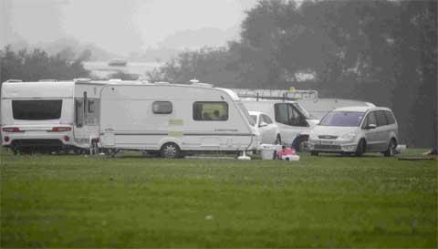 Travellers on the recreation ground at Turlin Moor