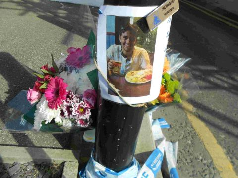 POIGNANT TRIBUTES: Flowers laid for murdered Sergio Marquez at Bournemouth's Lansdowne Mews