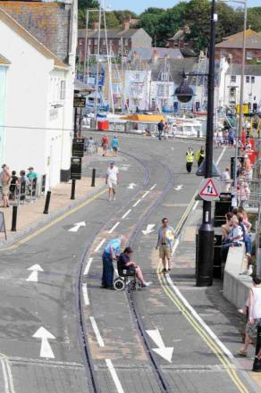 Few people on Weymouth's quayside