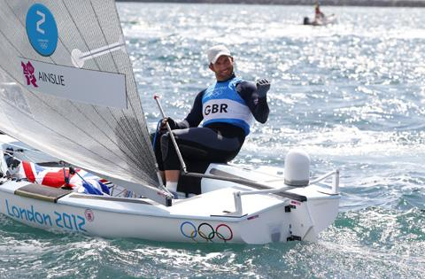 Bournemouth Echo: FOURTH GOLD: Ben Ainslie celebrates at the end of today's Finn medal race