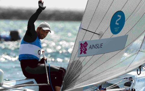 Ben Ainslie waves to t