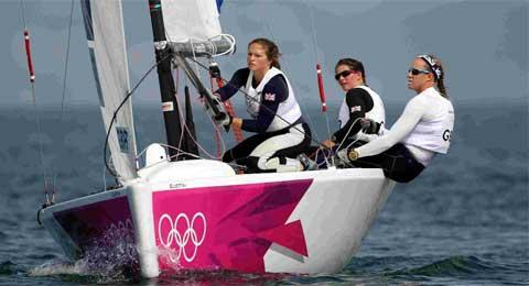 SAFE AND SECURE IN DORSET: Great Britain's Ellott matchrace crew Lucy MacGregor, Annie Lush and Kate MacGregor during the Olympic quarter-final against Russia off Weymouth