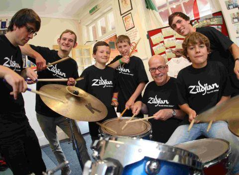 Joe Musker with young people taking part in the Drumming for Life event at Linwood Youth Centre at Winton Recreation Ground