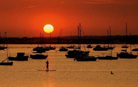 A paddle boarder on Poole Harbour. Picture by Steve Maskell.