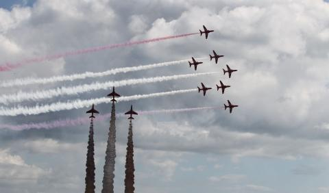 The Red Arrows in Phoenix formation above the Jon Egging memorial